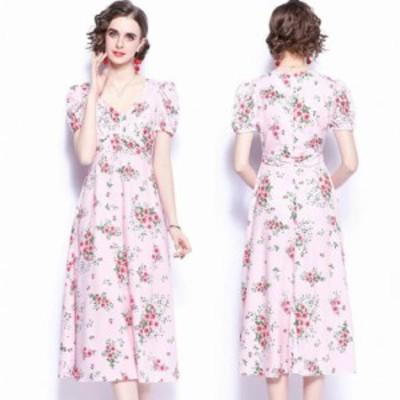 ワンピース レディース 40代 20代 春夏 半袖  きれいめ 上品 花柄ワンピース  Vネック 大きいサイズ パーティードレス おしゃれ 韓国風