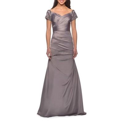 ラフェム レディース ワンピース トップス Ruched & Beaded Short-Sleeve Gown