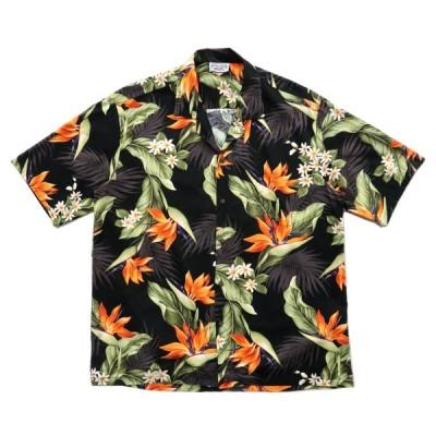 ハワイ製 開襟 アロハシャツ ブラックベース サイズ表記:XL