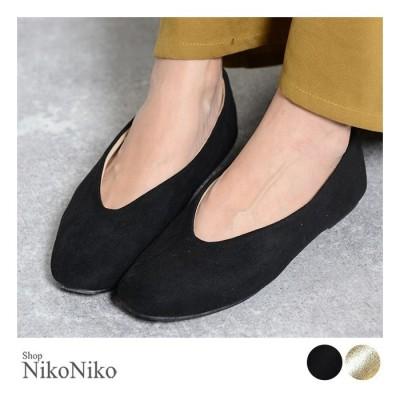 ShopNikoNiko スクエアトゥフラットパンプス シューズ 靴 フラット パンプス スクエアトゥ Vカット スエード ボア あったか レディース韓国ファッション ブラック M レディース