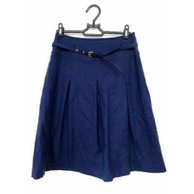 【中古】ノーリーズ Nolley's Sophi スカート ひざ丈 フレア ベルト タック カシミヤ混 青 ブルー 38 /AAO レディース