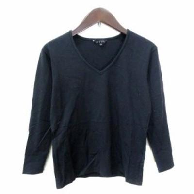 【中古】セオリー theory カットソー Tシャツ 七分袖 Vネック 2 黒 ブラック /YI レディース