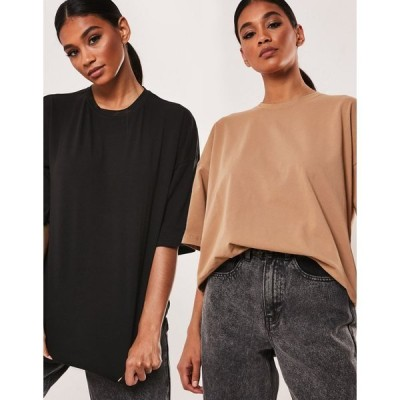 ミスガイデッド レディース Tシャツ トップス Missguided 2-pack oversized T-shirts with drop shoulder in black and camel Black/camel