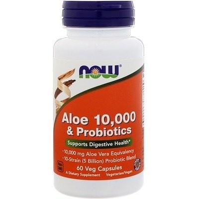 アロエ10000 & プロバイオティクス、ベジタリアンカプセル60錠