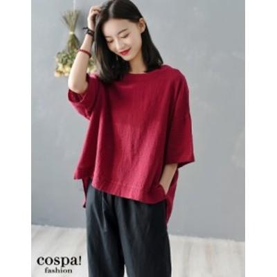 ドルマンスリーブ レディース 綿麻 麻混 リネン プルオーバー Tシャツ ゆったり 体型カバー 韓国
