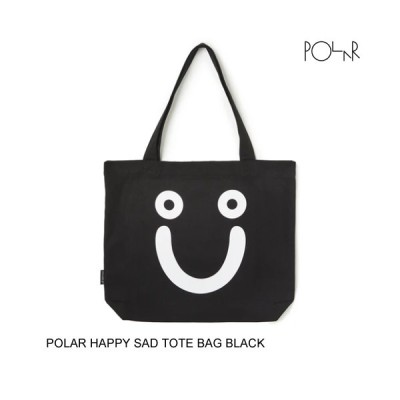 POLAR SKATE CO. ポーラー HAPPY SAD TOTE BAG BLACK トートバッグ