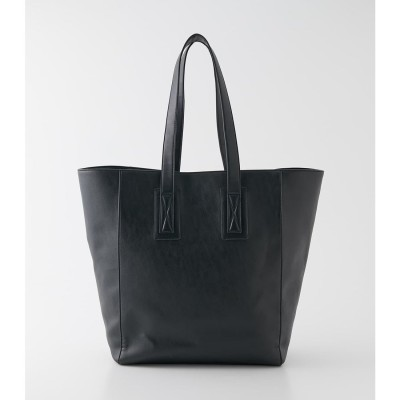 ECO LEATHER BIG TOTE BAG BLK