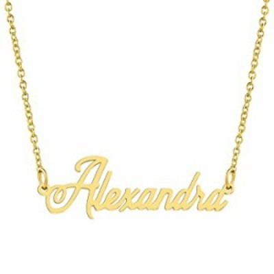 KISPER 18K Gold Plated Stainless Steel Personalized Name Pendant Necklace, Alexandra