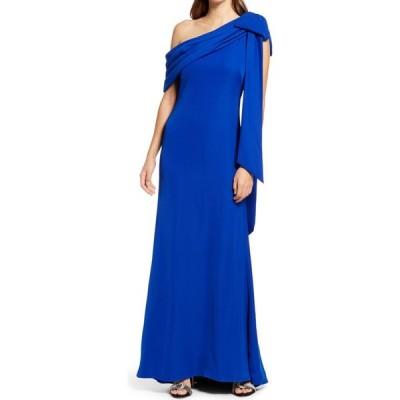 タダシショージ TADASHI SHOJI レディース パーティードレス ワンピース・ドレス One-Shoulder Crepe Column Gown Royal Blue