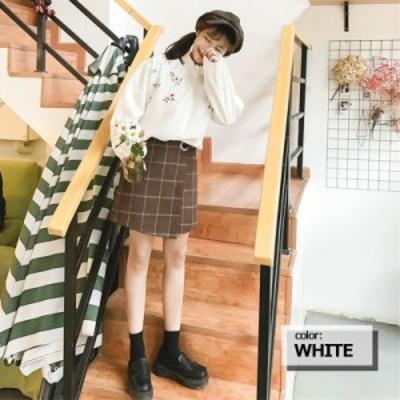 刺繍 ブラウス レディース 花柄ブラウス ブラウス トップス フラワー フリル ブラウス シャツ カジュアル 可愛い 刺繍 長袖