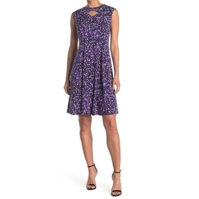 ロンドンタイムス レディース ワンピース トップス Printed Twisted Keyhole Sleeveless Knee Length Dress BLACK/BLUE