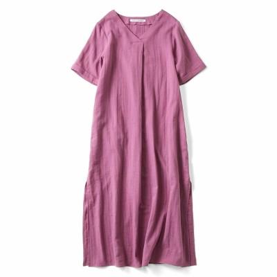 はまじとコラボ 着るほどにやわらかなダブルガーゼロングチュニック〈ピンク〉 リブ イン コンフォート フェリシモ FELISSIMO