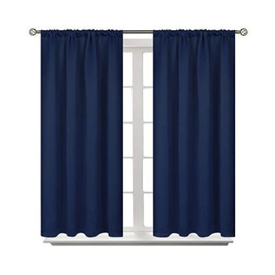 BGment Rod Pocket Blackout Curtains for Bedroom - Thermal Insulated Room Darkening Curtain for Living Room, 42 x 45 Inch, 2 Panels, Navy Blu