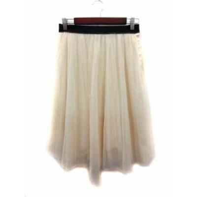 【中古】マカフィー MACPHEE トゥモローランド スカート フレア ミモレ ロング チュール 38 白 ホワイト レディース