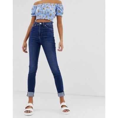 モンキー Monki レディース ジーンズ・デニム ボトムス・パンツ Oki skinny high waist jeans with organic cotton in new mid blue New mid blue