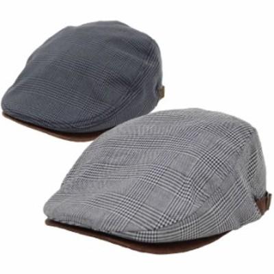 ハンチング メンズ レディース 帽子 グレンチェックサイドPUベルト付き 全国送料無料 ネコポス発送限定 exas