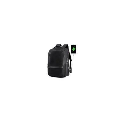 [ブラック]男性   18インチ     アンチショック    防水    バックパック カジュアル   旅行   バッグ USB  充電  ポート&