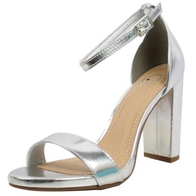 レディース 靴 ヒール パンプス Soda Women's Open Toe Ankle Strap Block Heel