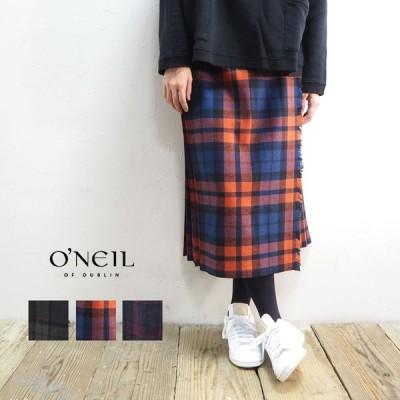 オニールオブダブリン O'NEIL OF DUBLIN スカート レディース ウールプリーツ巻きスカート 5073 巻きスカート