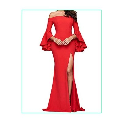 ECDAHICC Women' s Off The Shoulder Bell Sleeve High Slit Formal Evening Party Maxi Dresses(RE,S) Red並行輸入品