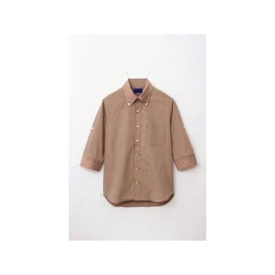 WSP 63387 ユニセックス 小柄ギンガムチェック5分袖シャツ ブラウン