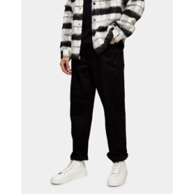 トップマン メンズ デニムパンツ ボトムス Topman relaxed jeans in stay black Black