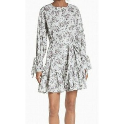 Rebecca Taylor レベッカテイラー ファッション ドレス Rebecca Taylor NEW Gray Women Size Large L Floral Flounce A-Line Dress