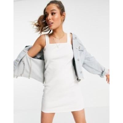 エイソス レディース ワンピース トップス ASOS DESIGN square neck ribbed body-conscious dress in white White