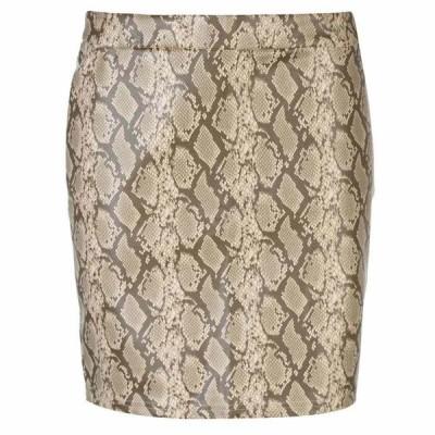 ノイズィーメイ Noisy May レディース ミニスカート スカート Noisy PU Snake Mini Skirt BROWN SNAKE