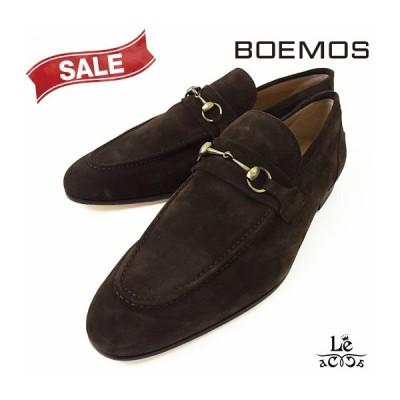 【50%OFF】BOEMOS ボエモス メンズ モカシン ローファー 靴 スリッポン スエード ブラウン 紳士靴 イタリア 国内正規品