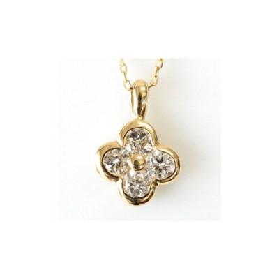 ダイヤモンド ネックレス レディース ダイヤネックレス 18金 18k K18 ゴールド 0.3ct カラット フラワーデザイン