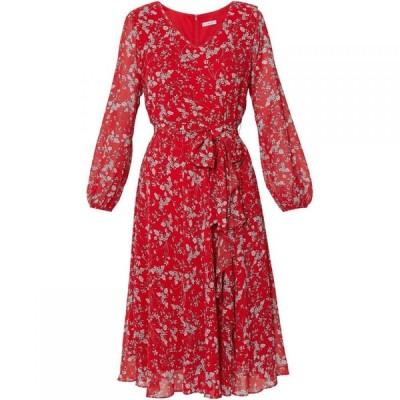 ジーナ バッコーニ Gina Bacconi レディース ワンピース ワンピース・ドレス Ridley Floral Chiffon Dress White and Red