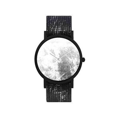 South Lane Stainless Steel Swiss-Quartz Watch with Leather Calfskin Strap, Black, 20 (Model: AW18-68) 並行輸入品