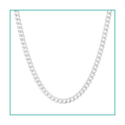 Men's 4mm Solid Sterling Silver .925 Curb Link Chain Necklace, Made in Italy (18)並行輸入品