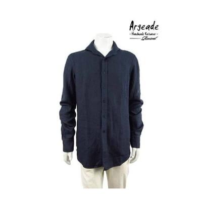 Argeade Revival【アルジェアード リバイバル】【メンズ】無地麻100%イタリアンカラーシャツ/ネイビー【サイズL】【イタリア製】