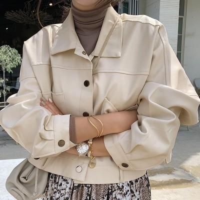 【韓国ファッションNo.1 NANING9】✨リデオンレザーショットジャケット✨大人のトレンドコーデ[送料無料]着やせ効果抜群😊大人可愛いナチュラル服♪着回しコーデ!最新トレンド勢揃い💖
