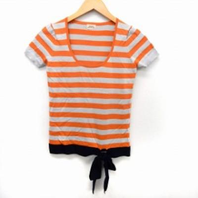 【中古】レディラックルカ LADY LUCK LUCA ニット セーター Uネック ボーダー 半袖 リボン 38 オレンジ /ST10