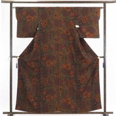 【中古】リサイクル着物 小紋 / 正絹茶色地更紗模様袷小紋着物 / レディース【裄Mサイズ】