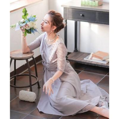 ニアナ niana 袖レースウエストモチーフワンピース 結婚式ドレス (ラベンダー) (パープル)