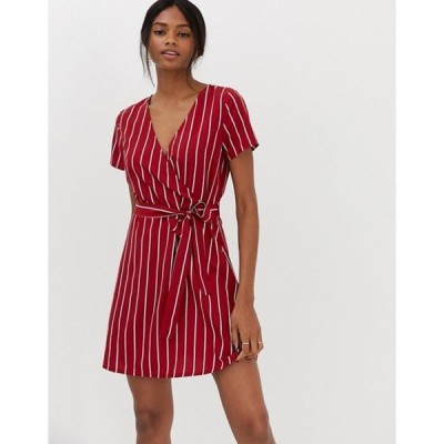 ヴィラ レディース ワンピース トップス Vila stripe faux wrap dress