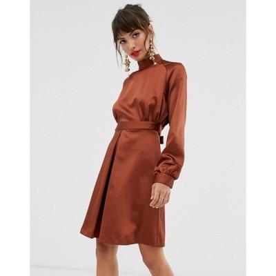 クローゼットロンドン レディース ワンピース トップス Closet high neck satin mini dress in brown