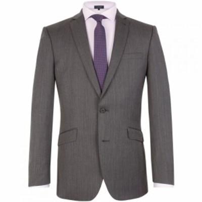 レーシング グリーン Racing Green メンズ スーツ・ジャケット アウター Herringbone Notch Collar Tailored Fit Suit Jacket Charcoal