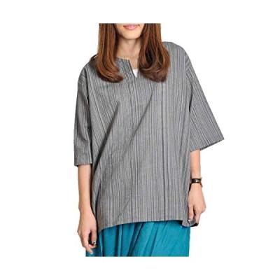 MARAI(マーライ) エスニック Tシャツ プルオーバー シャツ メンズ レディース 半袖 キーネック ダンス ヨガ Mサイズ グレー