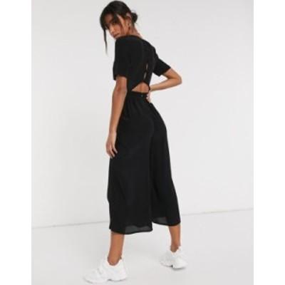 エイソス レディース ワンピース トップス ASOS DESIGN tea jumpsuit with button back detail in black Black