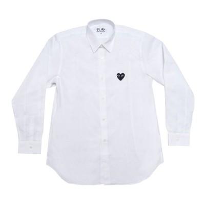 プレイ コム デ ギャルソン 長袖シャツ PLAY COMME des GARCONS 黒ハート刺繍 白