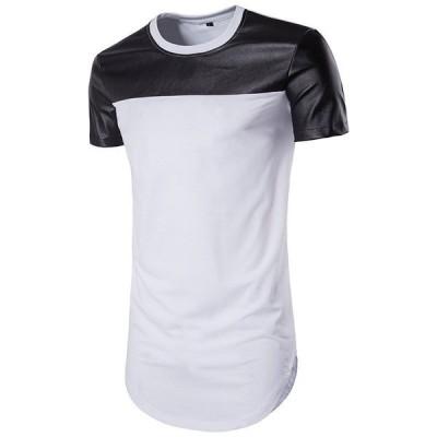 Tシャツ メンズ 半袖 切替 ロング丈 無地 アメカジ レイヤード 大きいサイズ トップス ロングテール 夏 個性 カジュアル 新作 夏服 夏物
