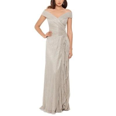 エスケープ ワンピース トップス レディース Off-The-Shoulder Metallic Pleated Gown Gold
