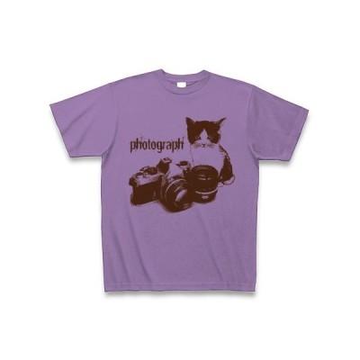 一眼レフカメラと子猫sepia Tシャツ(ライトパープル)
