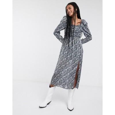 アンドアザーストーリーズ レディース ワンピース トップス & Other Stories floral print puff-sleeve midi dress in multi
