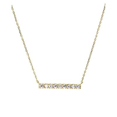 K18ゴールド 天然ダイヤモンド 計0.2ct ライン ネックレス 【K18YG イエローゴールド】
